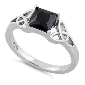 Sterling Silver Celtic  Black Princess Cut CZ Ring