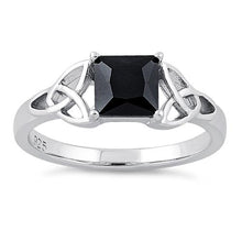 Load image into Gallery viewer, Sterling Silver Celtic  Black Princess Cut CZ Ring