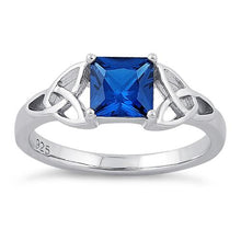 Load image into Gallery viewer, Sterling Silver Celtic Blue Spinel Princess Cut CZ Ring
