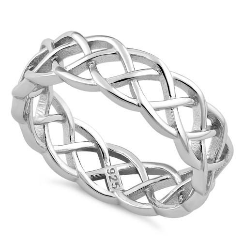 Sterling Silver Celtic Bradied Band Ring