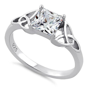 Sterling Silver Celtic Clear Princess Cut CZ Ring