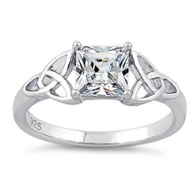 Load image into Gallery viewer, Sterling Silver Celtic Clear Princess Cut CZ Ring