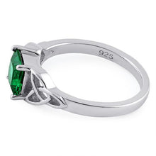 Load image into Gallery viewer, Sterling Silver Celtic Emerald Princess Cut CZ Ring