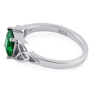 Sterling Silver Celtic Emerald Princess Cut CZ Ring
