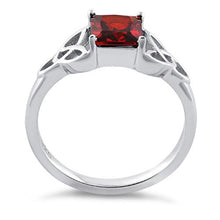 Load image into Gallery viewer, Sterling Silver Celtic Garnet Princess Cut CZ Ring