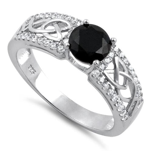 Sterling Silver Celtic Pave Black Round CZ Ring