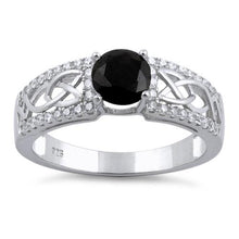 Load image into Gallery viewer, Sterling Silver Celtic Pave Black Round CZ Ring