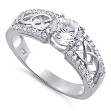 Load image into Gallery viewer, Sterling Silver Celtic Clear Round CZ Ring