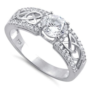 Sterling Silver Celtic Clear Round CZ Ring