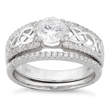 Load image into Gallery viewer, Sterling Silver Celtic Pave CZ Ring