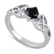 Load image into Gallery viewer, Sterling Silver Celtic Princess Cut Black CZ Ring
