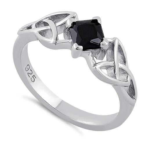 Sterling Silver Celtic Princess Cut Black CZ Ring