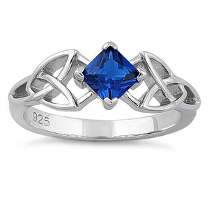 Sterling Silver Celtic Princess Cut Blue Spinel CZ Ring