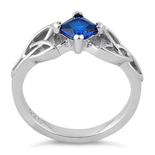 Load image into Gallery viewer, Sterling Silver Celtic Princess Cut Blue Spinel CZ Ring