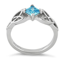 Load image into Gallery viewer, Sterling Silver Celtic Princess Cut Blue Topaz CZ Ring