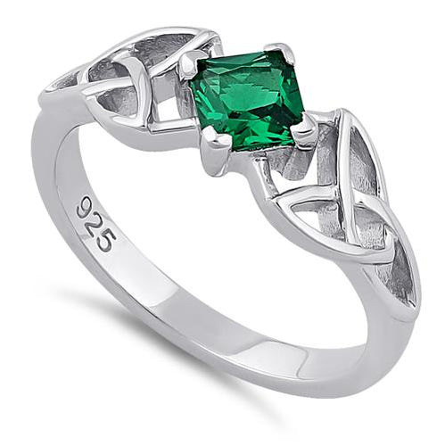 Sterling Silver Celtic Princess Cut Emerald CZ Ring