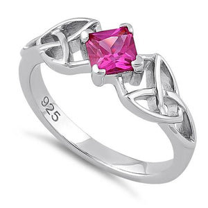 Sterling Silver Celtic Princess Cut Ruby CZ Ring