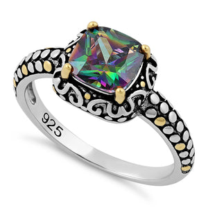 Sterling Silver Celtic Rainbow Topaz Cushion CZ Ring