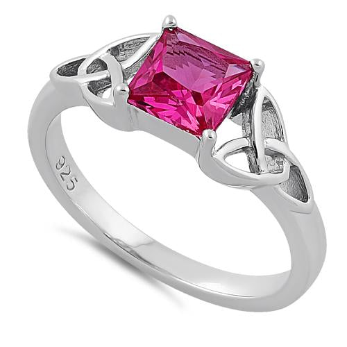 Sterling Silver Celtic Pink Princess Cut CZ Ring