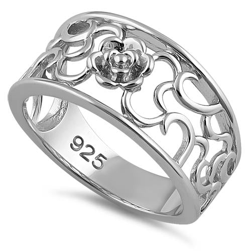 Sterling Silver Center Flower Ring