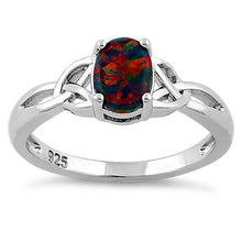 Load image into Gallery viewer, Sterling Silver Center Stone Charmed Black Lab Opal Ring