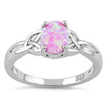 Load image into Gallery viewer, Sterling Silver Center Stone Charmed Pink Lab Opal Ring