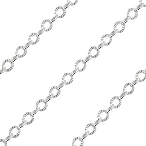 Sterling Silver Chain Catena Ovale Alternata 3mm (sold by the foot)