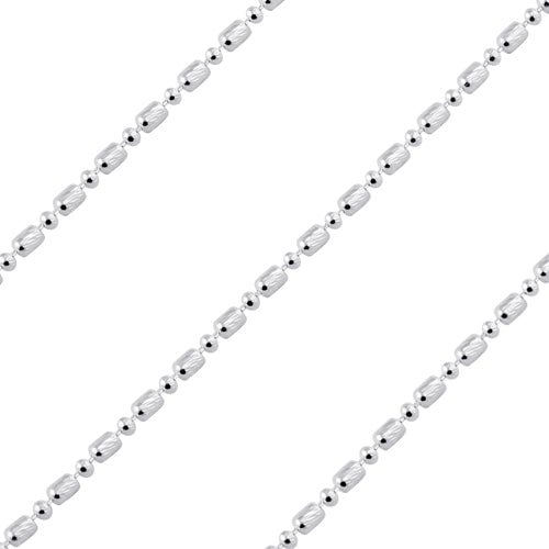 Sterling Silver Chain Catena Palline Disegnata 1.5mm x 2.7mm (sold by the foot)