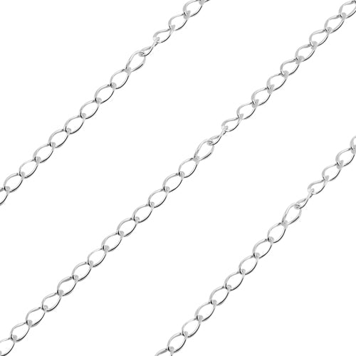Sterling Silver Chain Grummetta Rada Diamant 1.7mm (sold by the foot)