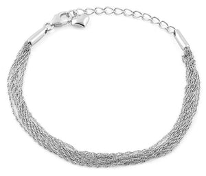 Sterling Silver Chain Links Heart Charm Bracelet