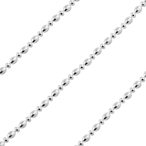 Sterling Silver Chain Ovalina Satinata Alternata 1.5mm x 3mm (sold by the foot)