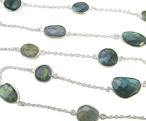 Sterling Silver Chain w/ Bezelled Labradorite (sold by the foot)