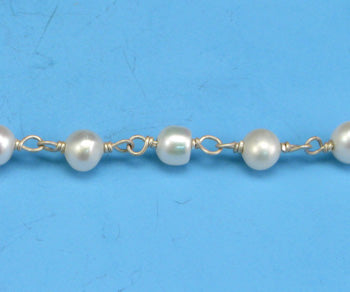 Sterling Silver Chain w/ Pearls (sold by the foot)