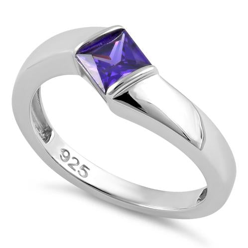 Sterling Silver Channel Bar Square Amethyst CZ Ring