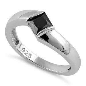 Sterling Silver Channel Bar Square Black CZ Ring