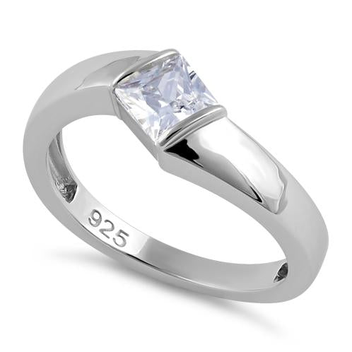 Sterling Silver Channel Bar Square Clear CZ Ring