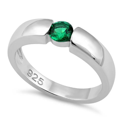 Sterling Silver Channel Bezel Emerald CZ Ring