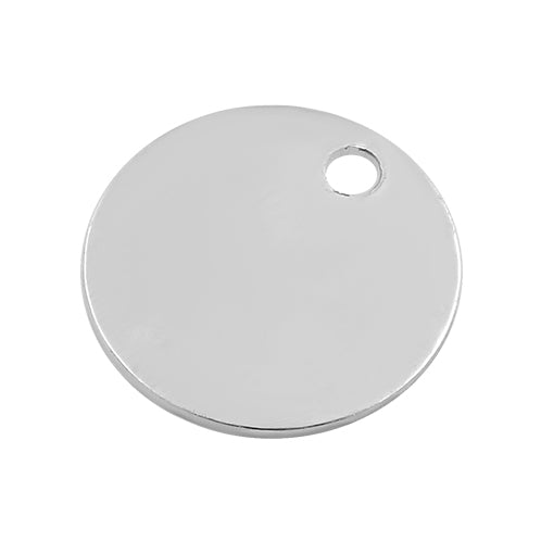 Sterling Silver Charm Round Flat Disc w/ Hole 9mm - PACK OF 4