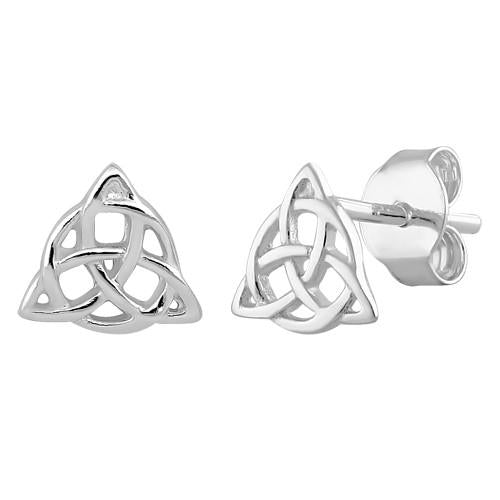 Sterling Silver Triquetra Charmed Earrings