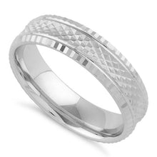 Load image into Gallery viewer, Sterling Silver Checkered Wedding Band Ring