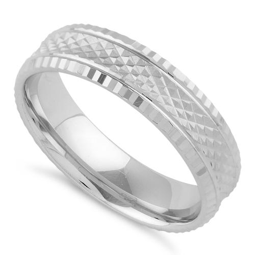 Sterling Silver Checkered Wedding Band Ring