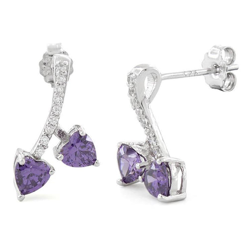 Sterling Silver Cherry Hearts Amethyst CZ Earrings