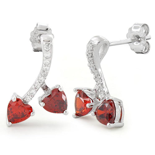 Sterling Silver Cherry Hearts Garnet CZ Earrings