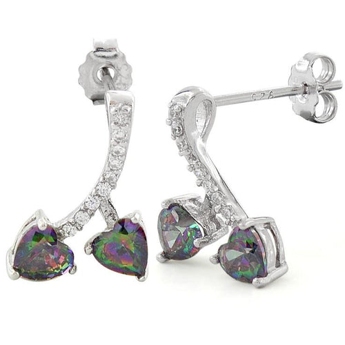 Sterling Silver Cherry Hearts Rainbow Topaz CZ Earrings