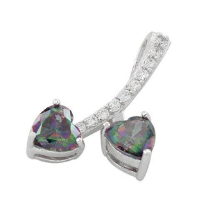 Sterling Silver Cherry Hearts Rainbow Topaz CZ Pendant