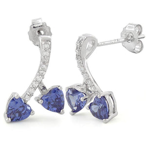 Sterling Silver Cherry Hearts Tanzanite CZ Earrings