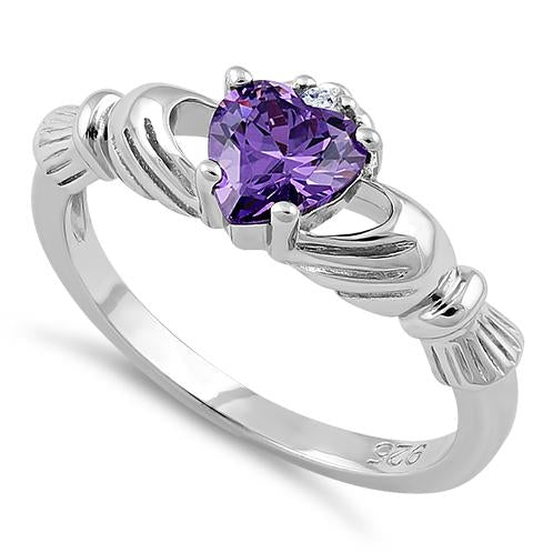 Sterling Silver Claddagh Amethyst CZ Ring