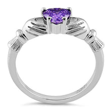 Load image into Gallery viewer, Sterling Silver Claddagh Amethyst CZ Ring