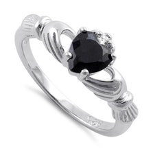 Load image into Gallery viewer, Sterling Silver Claddagh Black CZ Ring