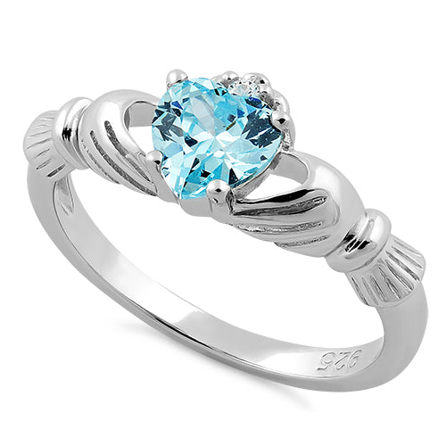 Sterling Silver Claddagh Blue Zircon CZ Ring